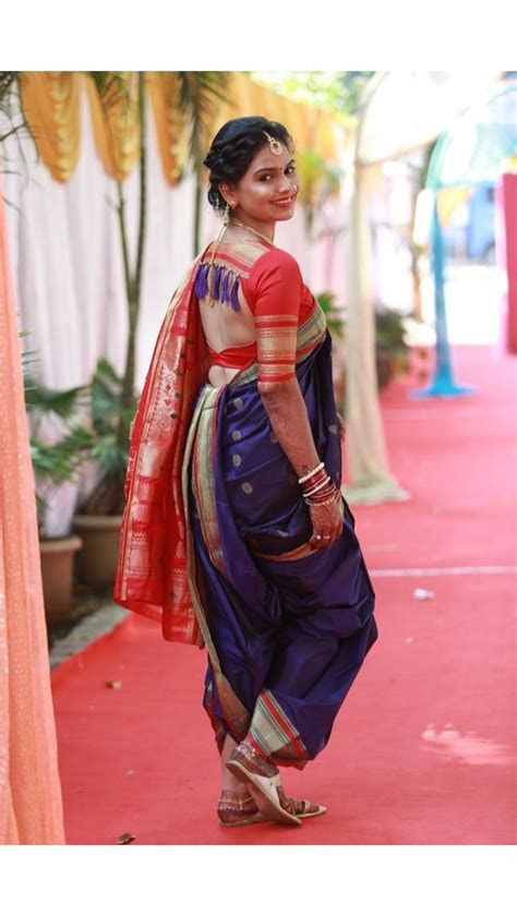 Marathi mulgi   Nauvari Saree   Nauvari saree, Kashta