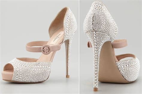 Silver studded wedding shoes by Valentino   OneWed.com