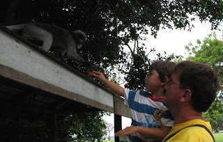 Me and the boy feeding a dusky langur
