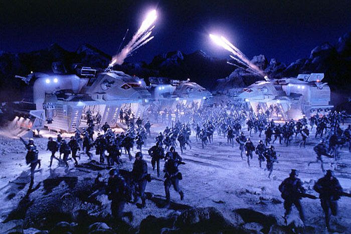 Federation soldiers land on planet Klendathu to fight the Arachnids in STARSHIP TROOPERS.