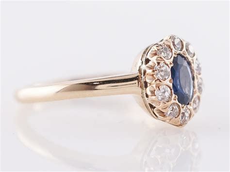 Vintage Engagement Ring Victorian .39 Oval Cut Sapphire in