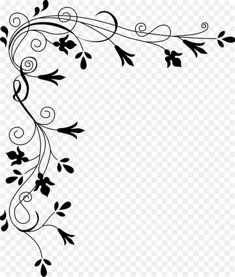 Flower Black and white Clip art   Corner Border Png png