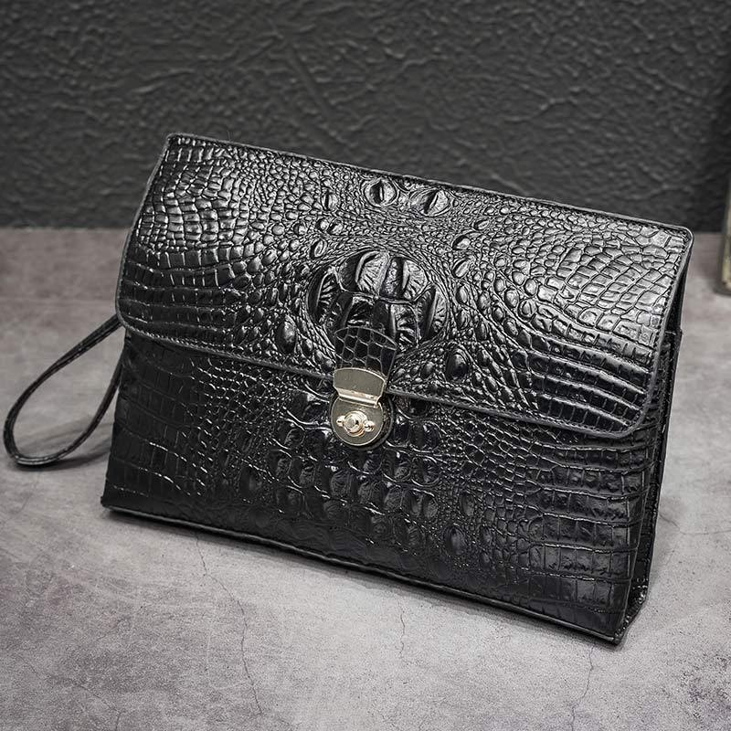 TOP !! Men Crocodile Pattern Business Handbag Large Capacity Genuine Leather Envelope Bag Clip High-End Clutch First Layer of Leather