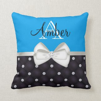 Bright Blue Rhinestone and Satin Monogram Throw Pillow