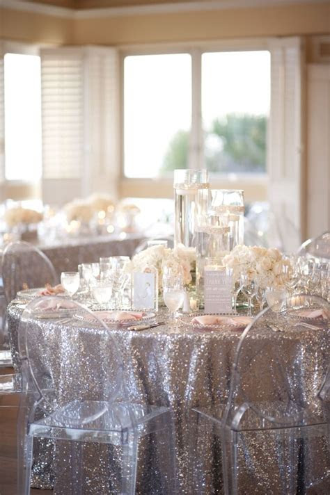 A Glamorous Silver & Blush Beach Wedding   Linens, Wedding
