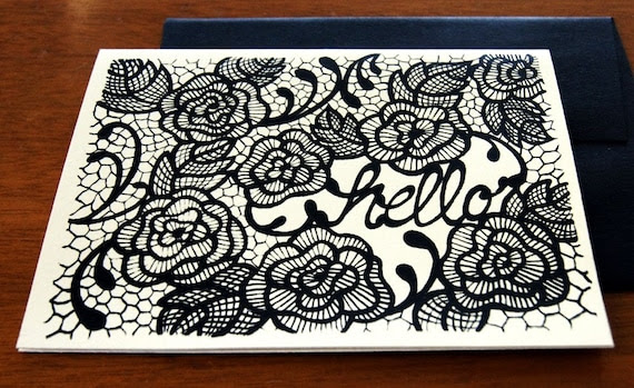 HELLO Chantilly Lace Notecard