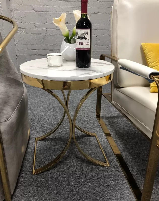 Unique design stanieless steel base marble top end table ...