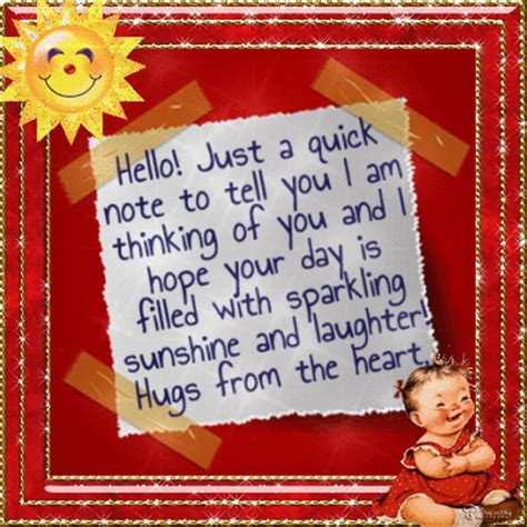 Hello Note With Hugs From The Heart. Free Hi eCards
