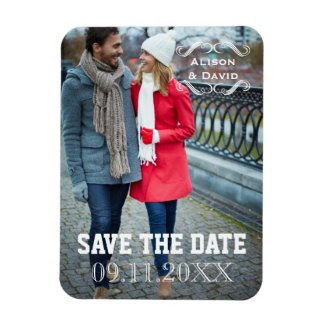 Minimalist Save the Date simple wedding photo Vinyl Magnet
