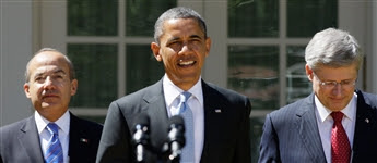 Three amigos? At the U.S.-Mexico-Canada summit, Mexican President Felipe Calderon, left, panned Obama for Fast and Furious, and Canadian PM Stephen...