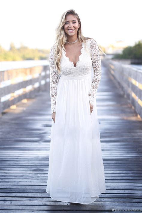 Discount Outdoor Long Sleeve Lace Plus Size Wedding