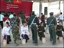Kachin dance with military theme