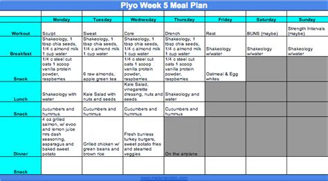piyo week  meal plan  progress update   plan