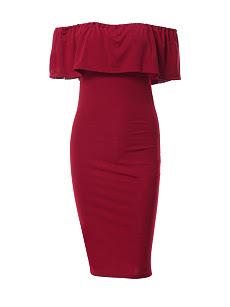 Petite video Bodice Dresses Bodycon Plain Pleated Shoulder One sizes
