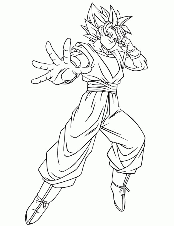 Draw Samples: Goku Blue Coloring Page Easy Drawing