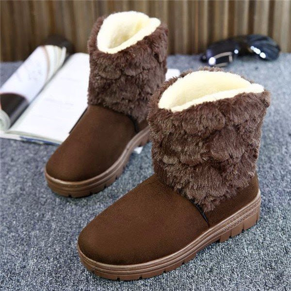 Furry Fur Lining Pure Color Slip On Ankle Warm Short Boots