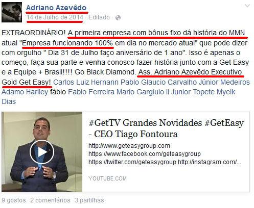 Adriando Azevedo burlando com o esquema em pirâmide GetEasy (copiado de fraude.pt))