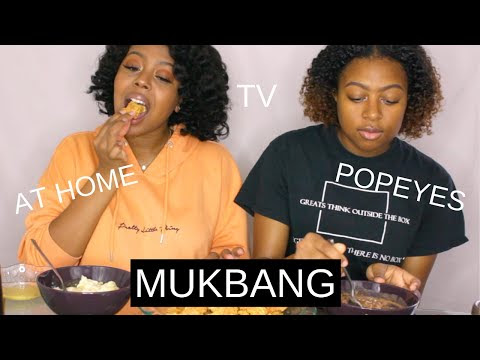 POPEYES MUKBANG WITH MY SISTER | QUARANTINE   FOOD   TV SHOWS | MIADENISEXO