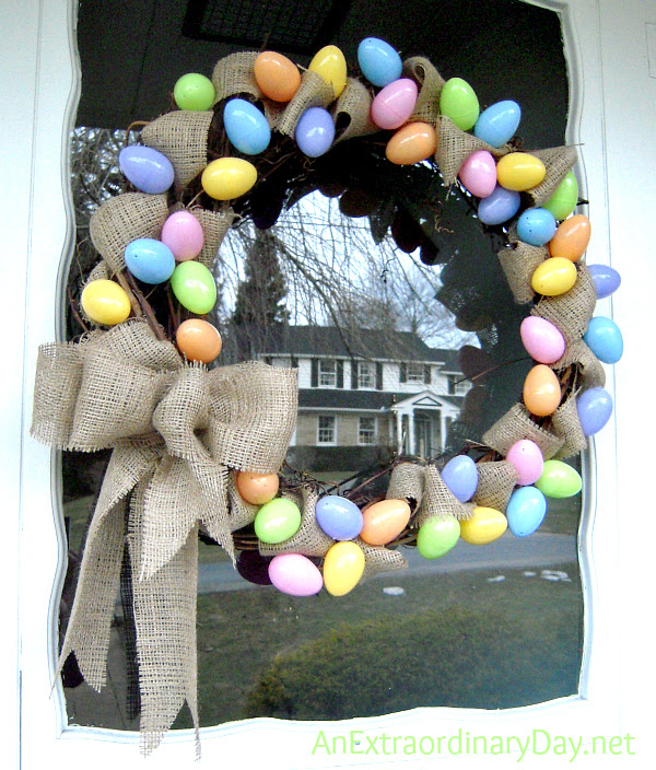 An Easter Welcome :: Pastel Eggs & Burlap Grapevine Easter Wreath :: AnExtraordinaryDay.net