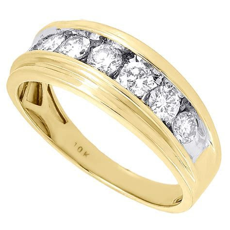 10K Mens Yellow Gold 7 Stone Diamond Engagement Ring