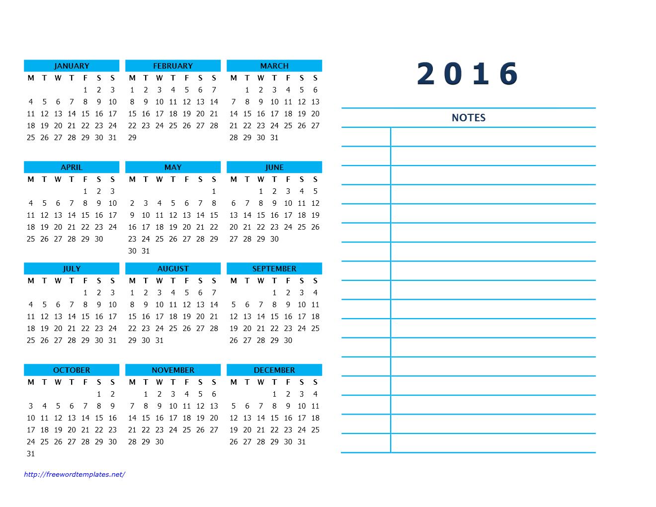 2016 Calendar Templates | Freewordtemplates.net