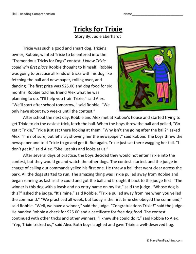 Reading Prehension Worksheet Tricks For Trixie