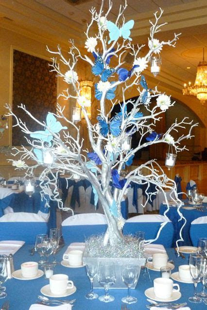 Silver Tree CenterpieceSilver Tree Centerpiece with Blue