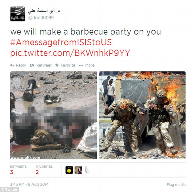 'We will make a barbecue party on you': Some of the threats came in broken English from accounts that mostly tweet in Arabic