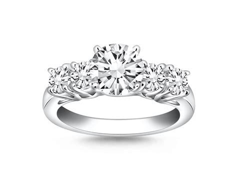Five Stone Diamond Trellis Engagement Ring Mounting in 14k