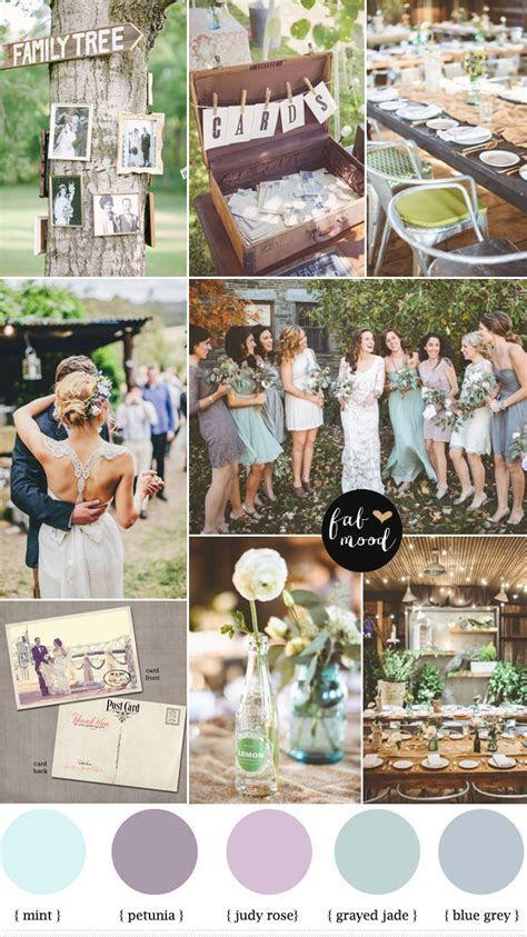 shades of purple,blue grey and grayed jade vintage wedding