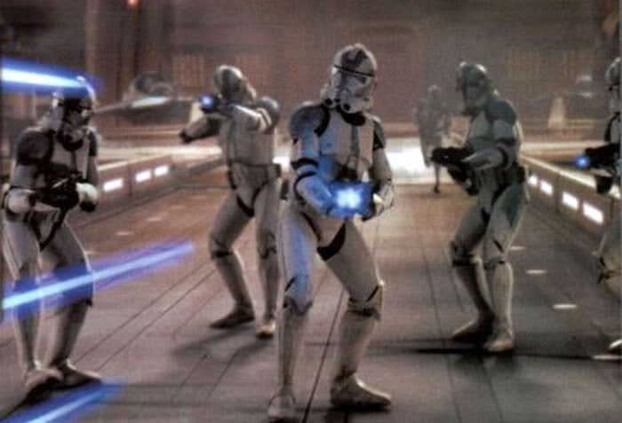 Clones open fire on a Youngling outside the Jedi Temple.
