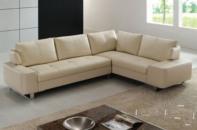 Refined Italian Top Grain Leather Sectional Sofa - contemporary