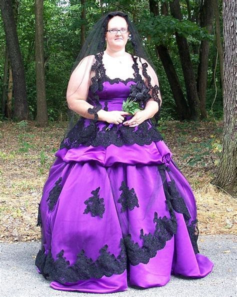 plus size purple gothic wedding dress   Wedding Dresses