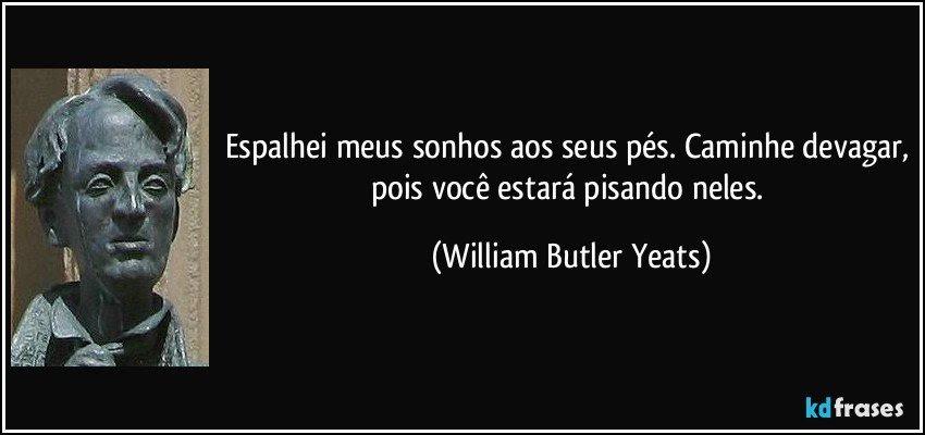 Espalhei meus sonhos aos seus pés. Caminhe devagar, pois você estará pisando neles. (William Butler Yeats)