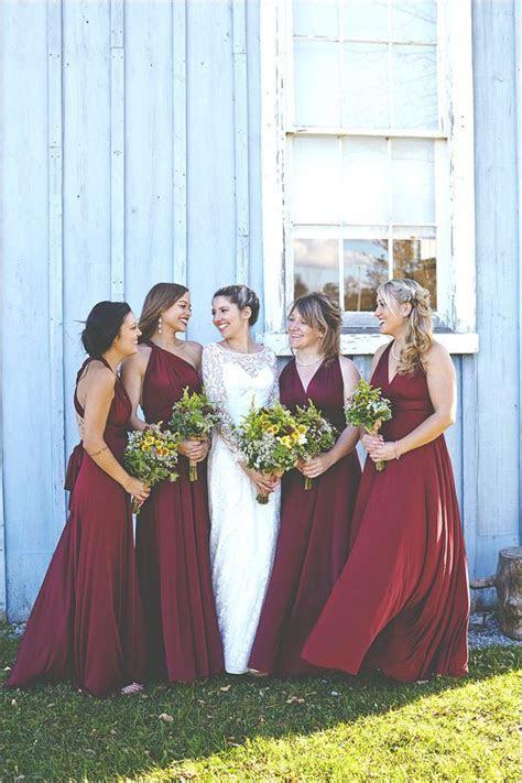 Fall Bridesmaid Idea: Floor length burgundy bridesmaid