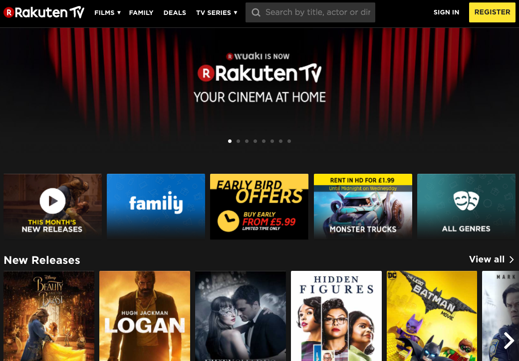 A screenshot of Rakuten TV in action