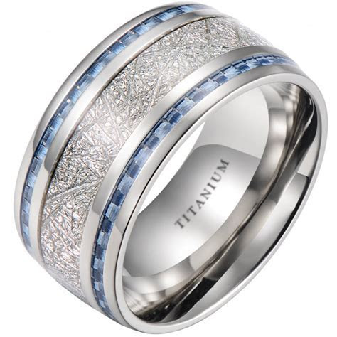 10mm Meteorite Inlay Titanium Wedding Ring With Blue