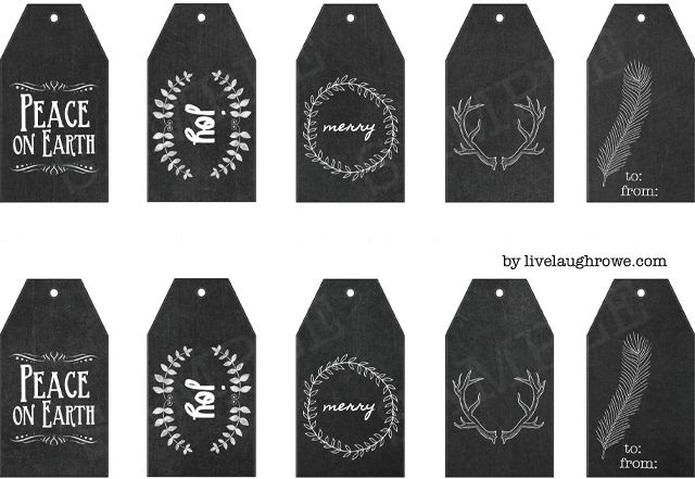 Fabulous and Free Chalkboard Gift Tag Printables from livelaughrowe.com