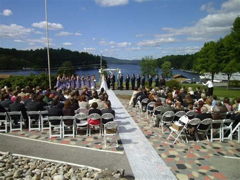 Patio Ceremony at Dunham's Bay in Lake George   Weddings