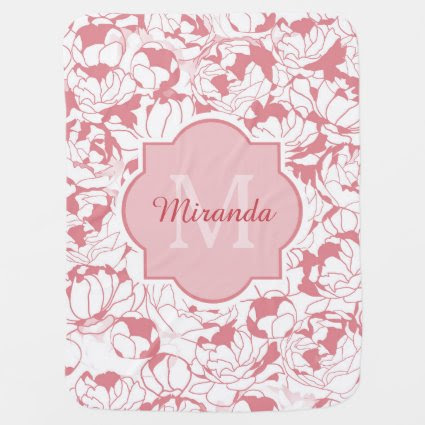 Modern Light Pink Floral Girly Monogram With Name Baby Blankets