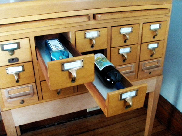 turning library card catalogue into bar stand