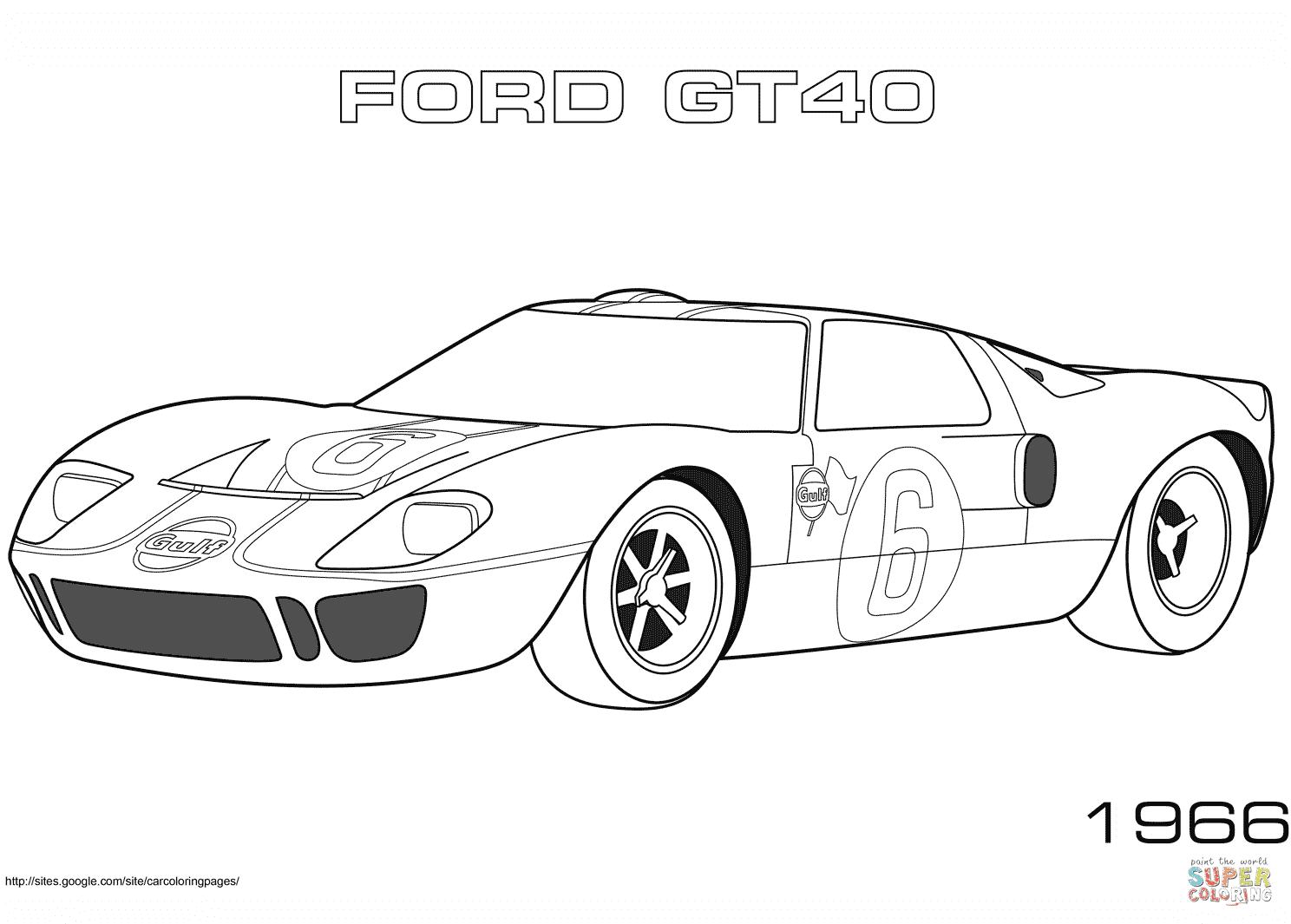 er sur la 1966 Ford GT40 coloriages