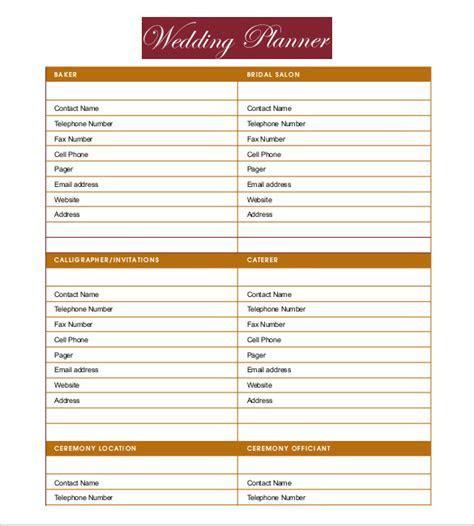 Wedding Planner Template Free Download   printable