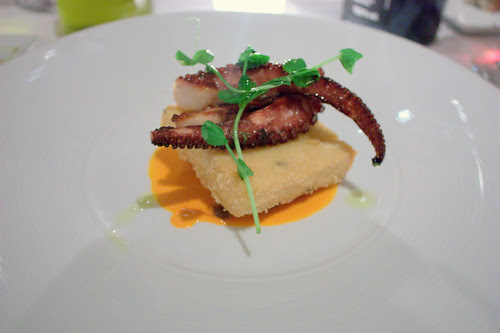 convivio polipo; grilled octopus, chickpea panissa, olives, red peppers
