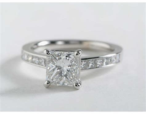 Princess Cut Channel Set Diamond Engagement Ring in 14k