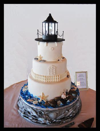 Lighthouse Wedding Cake   I made the stand out of crinkled