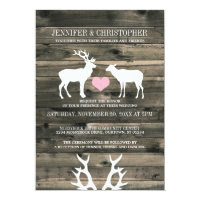 Rustic Country Buck and Doe Wedding Invitation