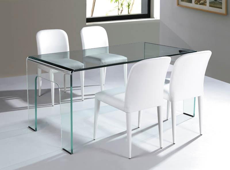 Viva Modern Cristallo Dining Table/Desk Bent Glass ...