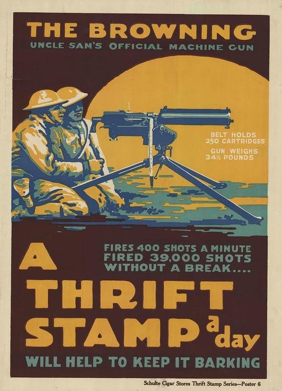 (probable pochoir technique) tritonal print of kneeling men with machine gun