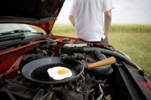 Frying an egg on the car engine